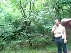 outdoor black wanks in front of woman