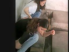Chinese women caught pissing