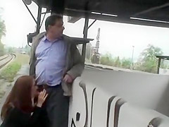 Old daddy gets a public blowjob