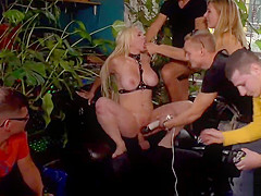 Hot ass busty blonde group fuck in public