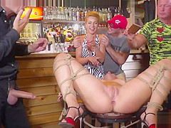 Naked Serbian slut pissing in public bar