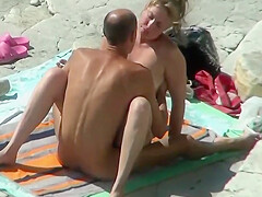Sex On The Beach. Mature Lovers Fuck In Full View Of Passers By