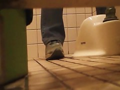 Pissing in the toilet and showing bushy pussy on spy cam