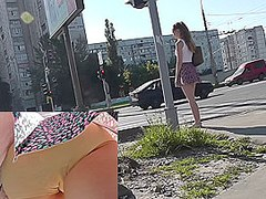 Upskirt panties pictures of the slender young babe